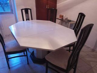 Mesa de comedor hexagonal + 6 sillas
