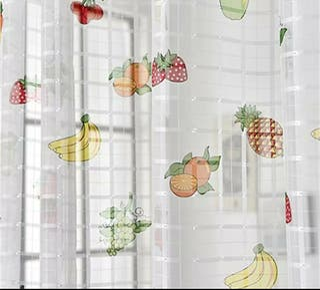 Cortina tul estampado frutas para cocina 100x250