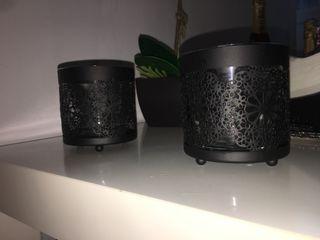 Juego de tres porta velas negras