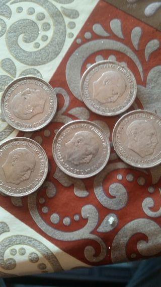 monedas 5 pesetas del 1957.