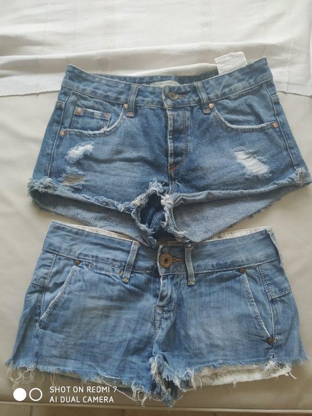 Lote de 11 pantalones vaqueros cortos y 6 faldas .