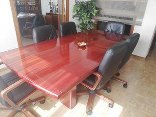 mesa de juntas con 6 sillones de piel