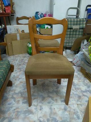 4 sillas de madera de nogal curvadas marrones
