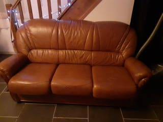Sofá 3 plazas imitaciones piel color marrón