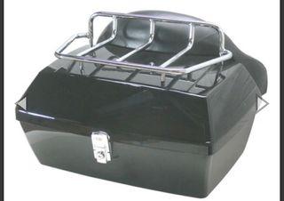 Baúl trasero rígido para moto custom + laterales