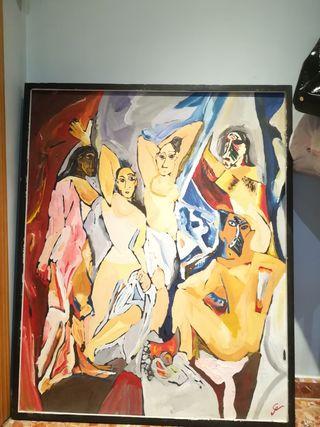 pintura al óleo replica las señoritas de Avignon