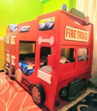 cama doble infantil bomberos
