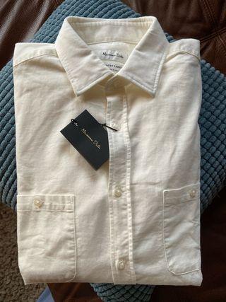 Camisa de color blanco-crema   hombre   Nueva