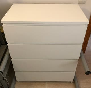 Cajonera MALM 4 Cajones, blanco, 80x100