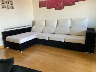 Sofá con chaise lounge, reclinables los respaldos