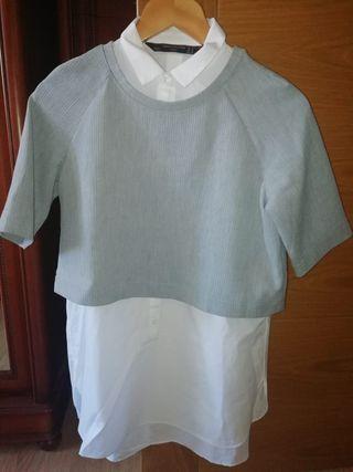 Camisa con jersey de Zara.
