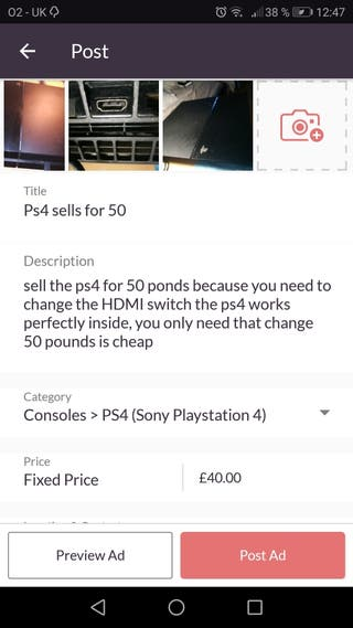 Ps4 sells for 40 pounds