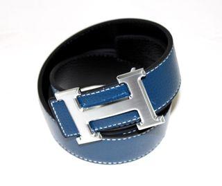 Cinturón reversible azul estilo Hermes