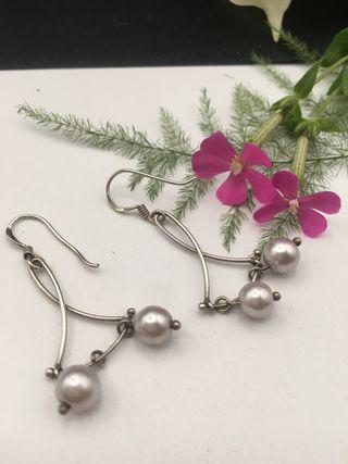 Pendientes plata de ley y perlas