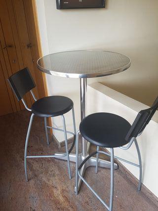Mesa alta aluminio tipo bar.