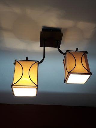 Lámpara techo marrón y beige