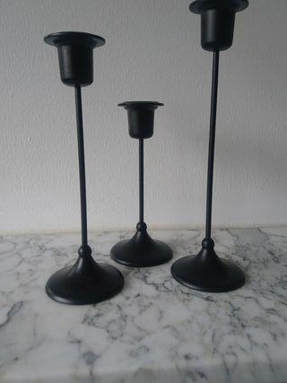 soporte vela de metal negro nuevo