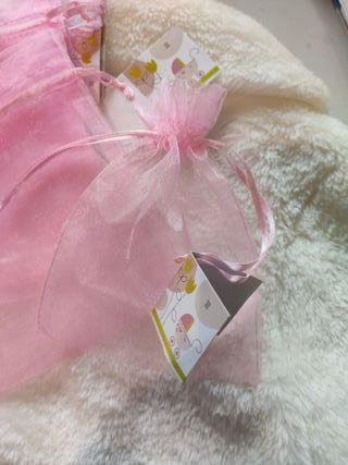 lote 40 bolsas organza rosa con tarjeta