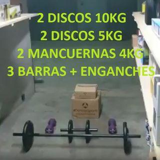 Pack Musculacion 38Kg : Barras, Discos, Mancuernas