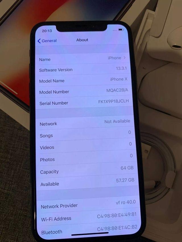 iPhone X space grey unlocked 64GB