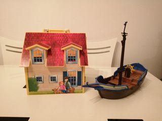 Casa y barca de playmobil