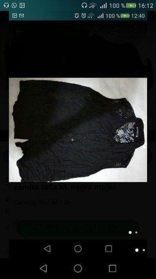 camisa talla XL negra mujer