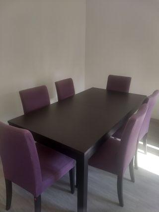Mesa de comedor extensible IKEA - BJURSA y sillas
