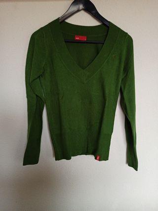 jersey verde cuello pico talla s