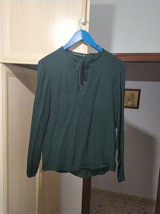 Blusa Verde Militar de Manga larga, escote y lazo