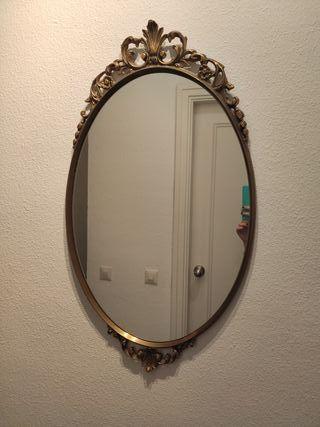 Espejo antiguo ovalado marco dorado (juego de dos)