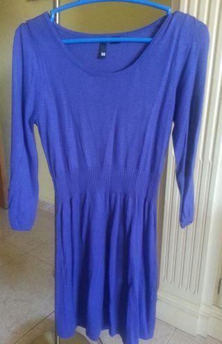 vestido azul punto fino, marca HM. talla M poco us