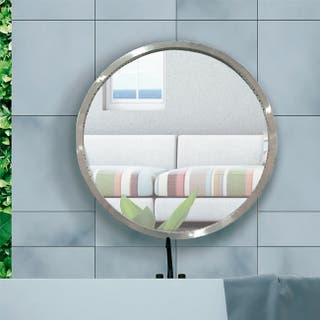 Espejo redondo marco acero 111 cm.