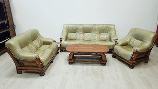 Sofas de Piel y roble Rusticos Verde Olivo