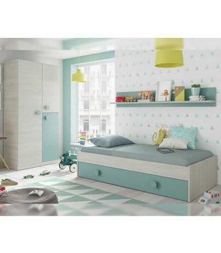 Dormitorio Juvenil Cama nido y armario Verde Agua
