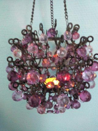 portavelas lampara colgante de cristal