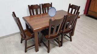 Mesa Salon Rustico con 6 sillas a juego