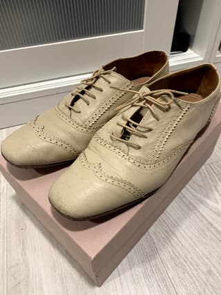 Zapatos oxford cordones beige 39 Uterqüe