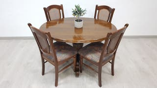 Mesa Salon con 4 sillas Rusticas de Roble