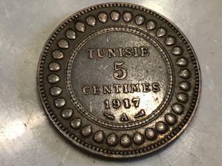 MONEDA 5 céntimos. TUNISIE. AÑO 1917