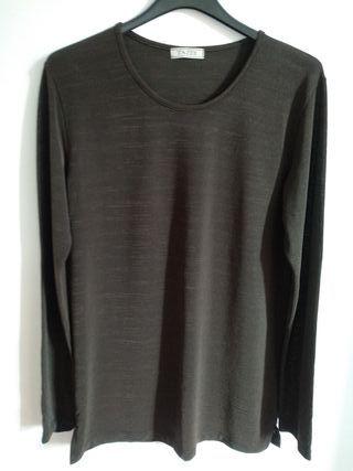 Camiseta marrón oscuro manga larga