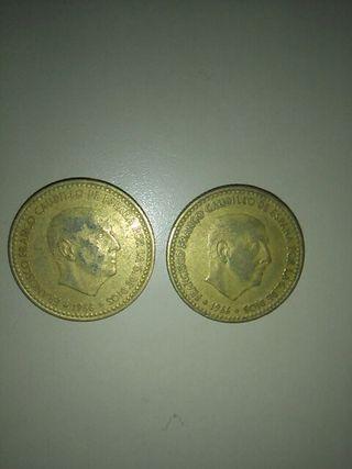 2 MONEDAS DE 1 PESETA DE 1966-74