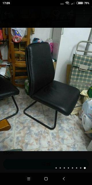 2 sillones de cuero negros vintage años 80