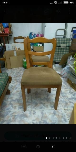 4 sillas de madera cerezo curvadas tapizada marron