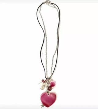 Handmade Pink Heart Necklace