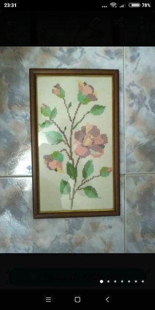 Cuadro de rosas de punto de cruz alargado