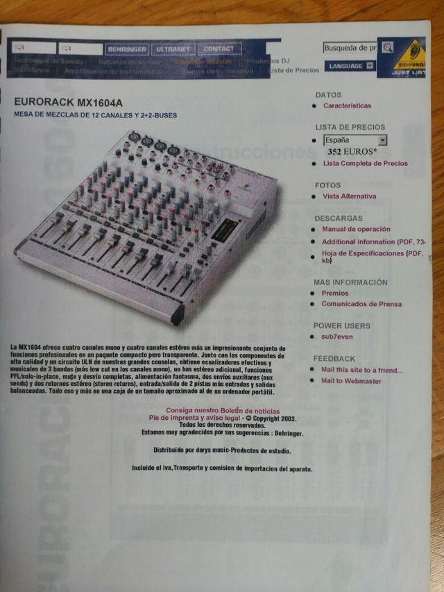 mesa de mezclas behringer mx1604a