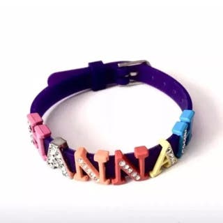 Multicoloured Name Hannah Diamanté Bracelet