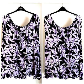 Yours Clothing Purple Lily Gypsy Top (Size 20)
