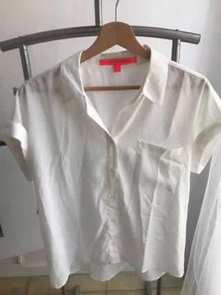 Camisa blanca manga corta mujer
