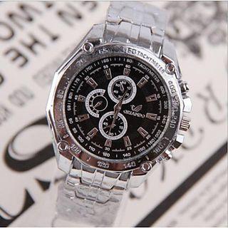 reloj pulsera tipo avicion cuarzo plata analogico